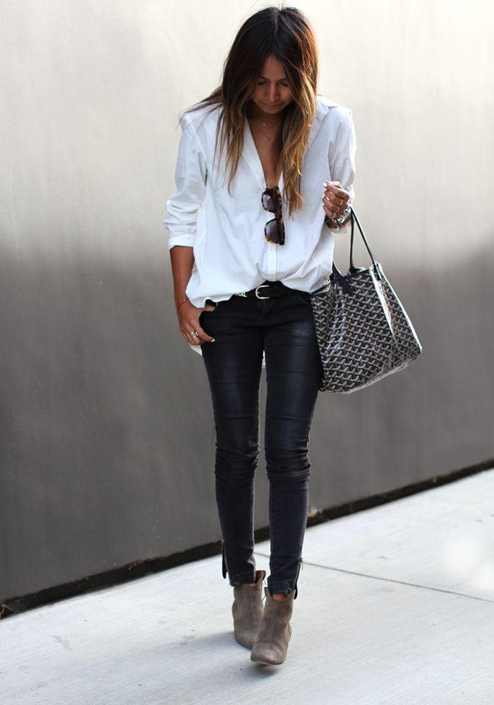 Anine Bing jeans, Silence & Noise shirt, Isabel Marant x H&M belt, Isabel Marant booties, Karen Walker sunglasses, Goyard bag. #IM #musthave #sneakers