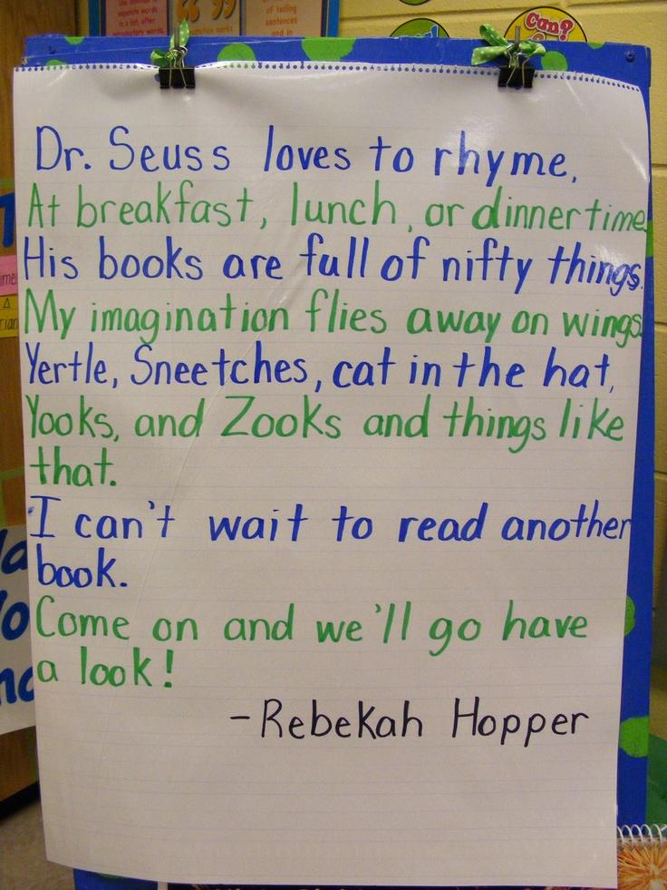My Dr. Seuss Poem: Seuss Poems, Fun Poems, Wonder Poems, Poems Chants, Book