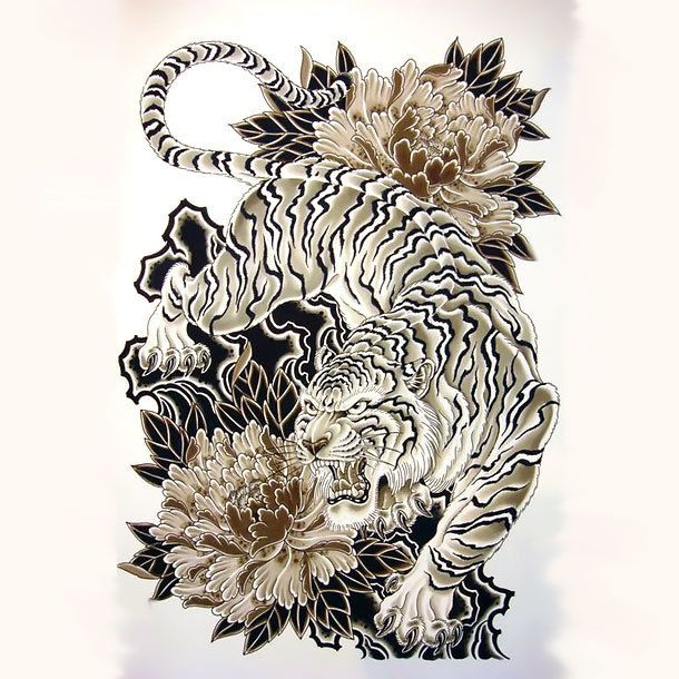 Nice oriental tiger design with flowers.