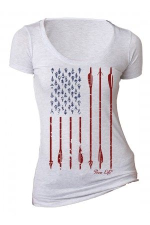 Women's Bow Life American Archer - White Scoop Neck T-Shirt