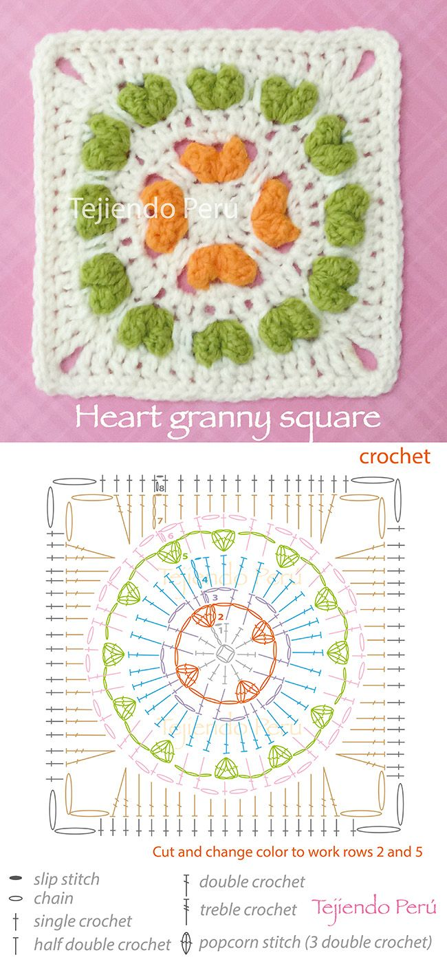 Crochet: heart granny square pattern (diagram or chart) Moss ༺✿ƬⱤღ  https://www.pinterest.com/teretegui/✿༻