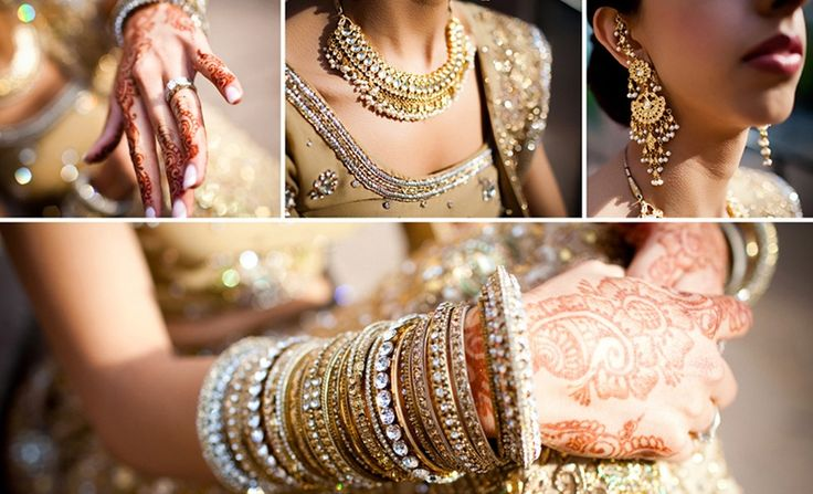 Indian bridal jewellery, necklace, rings, bangles, earrings