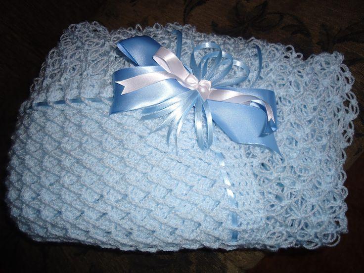 manta para bebê quarto passo azul com laço