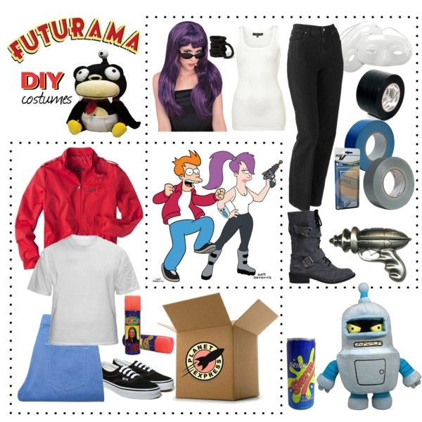 """""""Couples Costumes DIY :: Futurama's Leela & Fry"""" by leighanned on Polyvore"""