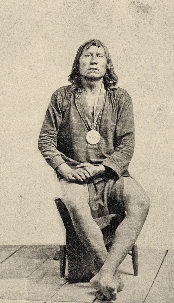 """No Equal in Merciless Cruelty Satanta wears a peace medal likely given at the signing of the Medicine Lodge Treaty in 1867 in this carte de visite dated August 18, 1868.  The New York Times, on November 9, 1867, wrote of the Kiowa chief: """"Satanta…has no equal on the Plains in cunning or native diplomacy…in boldness, daring and merciless cruelty…."""" In 1871, he, Big Tree and Satank became the first American Indians tried for raids in a U.S. court, for attacking Henry Warren's wagon train"""