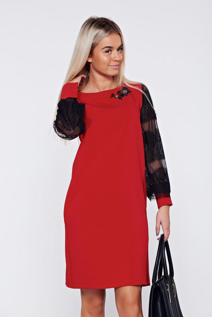 Comanda online, Rochie LaDonna rosie eleganta cu croi larg cu maneci din dantela. Articole masurate, calitate garantata!