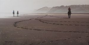 Richard Smith, 'Horse Trainers - Muriwai Beach' Acrylic on polyester canvas, 380 x 760 mm, POA at the Remuera Gallery