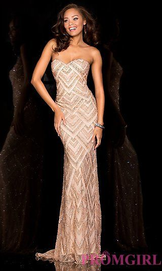 Long Strapless Sweetheart Sequin Scala Dress at PromGirl.com