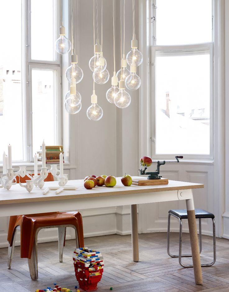 Idee voor boven de eettafel: meerdere hanglampen bij elkaar #diningroom #lighting