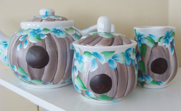 Birdhouse Teapot Cream and Sugar Set Hand Painted by CANADIANCREATIONZ on Etsy