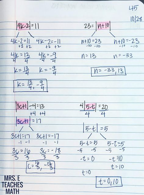 absolute value equations flipbook for interactive notebooks