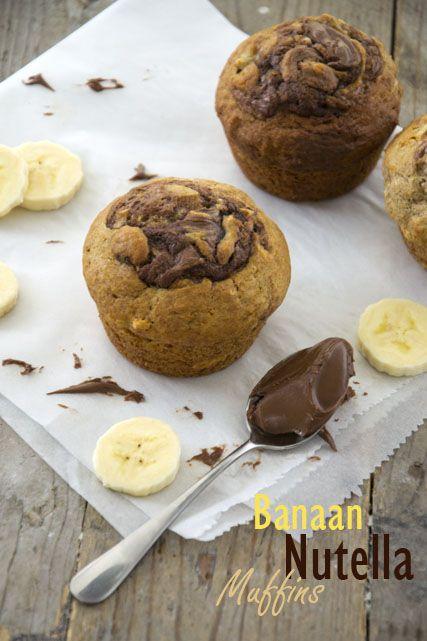 Banaanmuffins met nutella - Brenda Kookt!