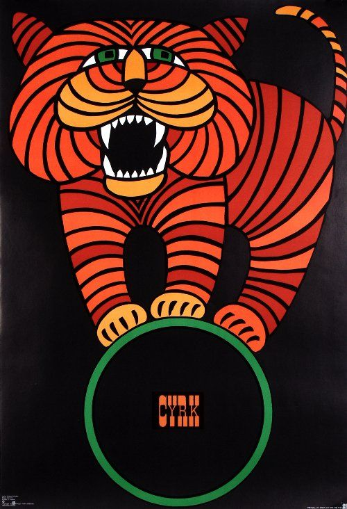 Tiger on Ball, Polish Circus Poster designed by Hubert Hilscher