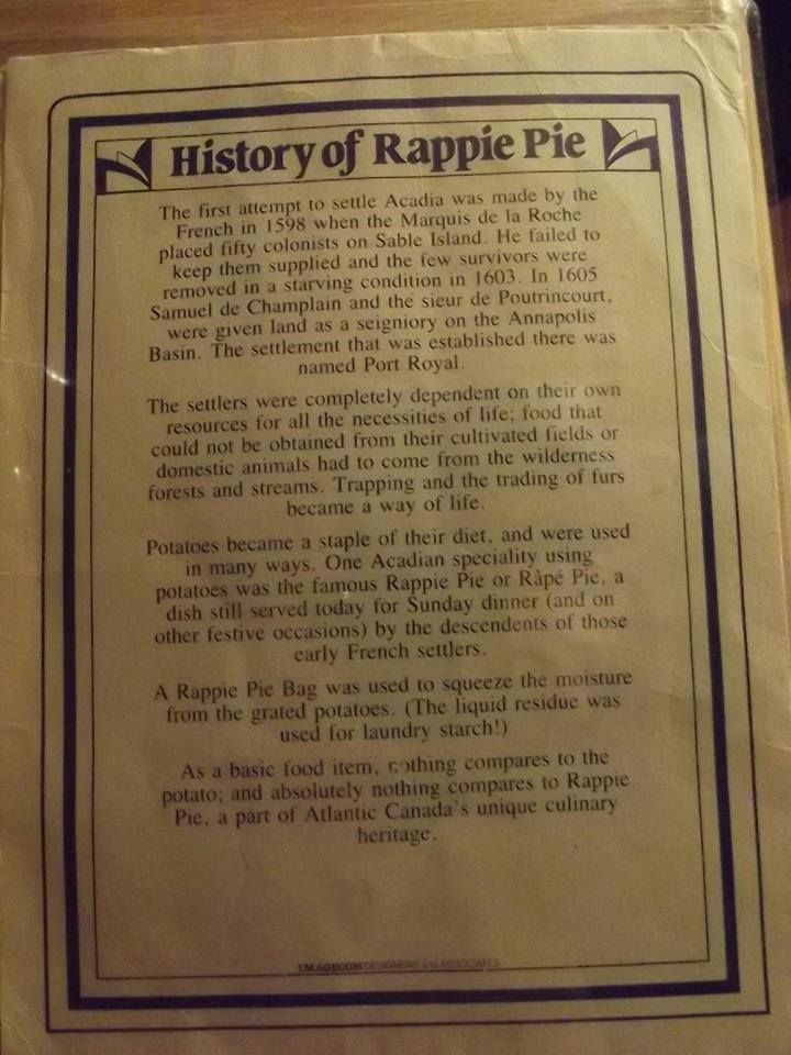 The history of Rappie Pie - Acadian Dish