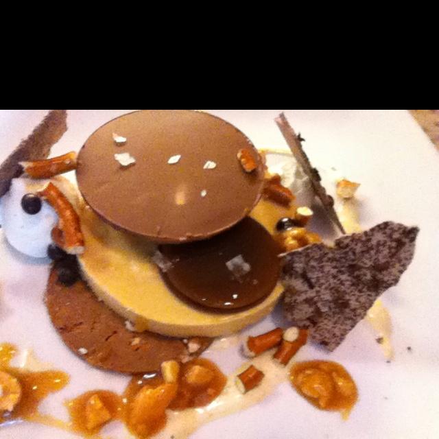Peanut butter parfait, caramel, milk chocolate, pretzels