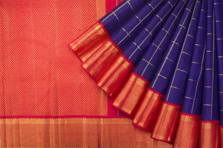 Handwoven Korvai Kanjivaram Silk Sari with Pogidi Border 1029291 - Saris / All Saris - Parisera