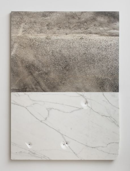 Sam Moyer, Hydra, 2014, marble, ink on canvas mounted to mdf panel, 57 x 47 x .75 inches