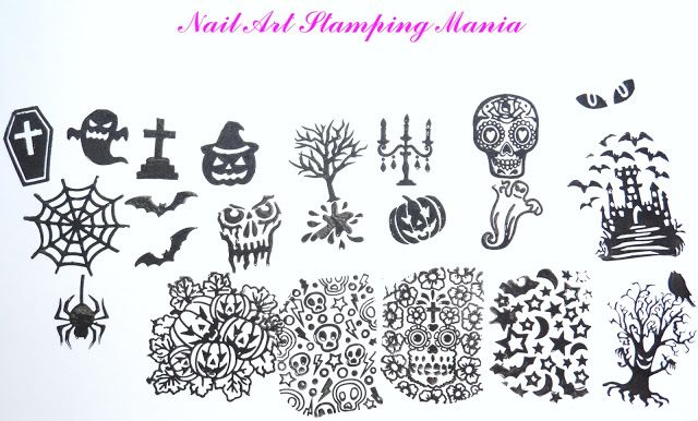 Nail Art Stamping Mania: Pueen Halloween Party 01 Stamping Plate - Swatches and Review