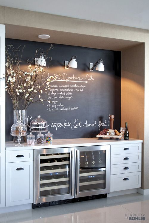 """I like the chalkboard over the wet bar idea. Maybe display """"daily specials."""""""