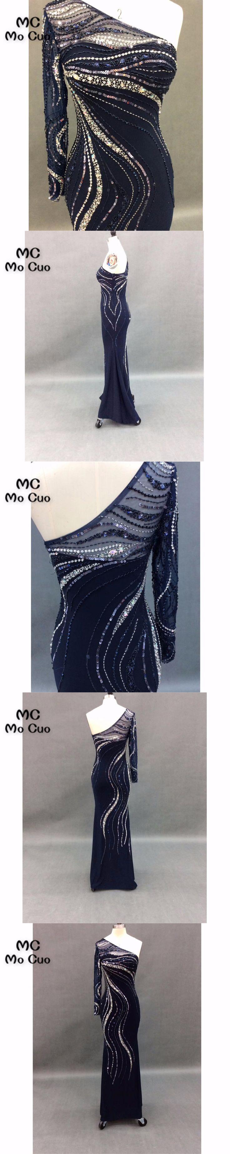 Elegant Illusion Prom Dresses for teens One shoulder Full Sleeve Beads Vestidos de fiesta Mermaid Formal Evening Dress 100% Real