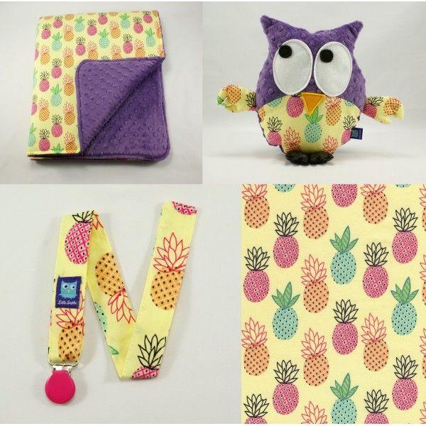 Little Sophie baby set. Baby blanket + plush owl + dummy keeper. Pineapple set #littlesophie #littlesophiepl #pineapple #pineapples #violet #owl #owls #gustav #owlyouneedislove #owlsaddicted #babyset #forbaby #minky
