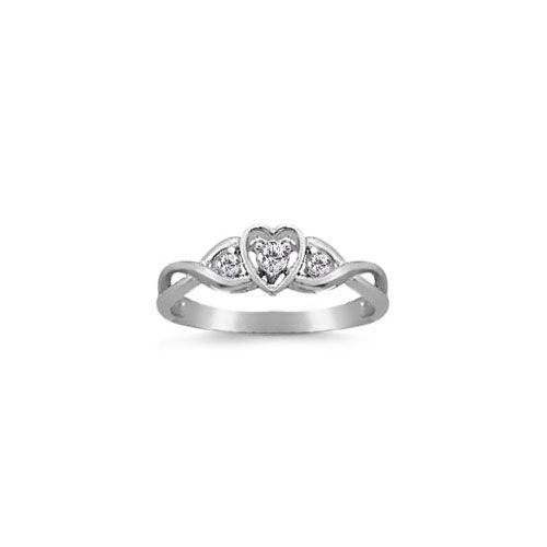 1/10 Carat Diamond White Gold Heart Promise Ring