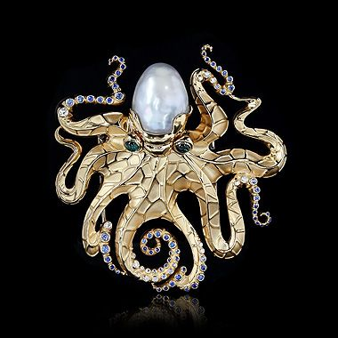 Brooch Octopus - buy in Mousson Atelier - Yellow gold, Baroque pearl, Diamonds, Sapphires, Green tourmaline