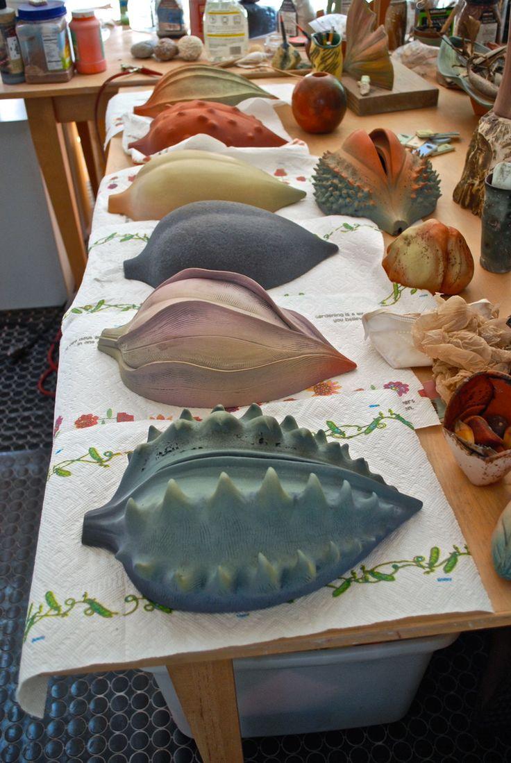 Alice Ballard's Greenville, SC studio. Ceramics based on seed pods