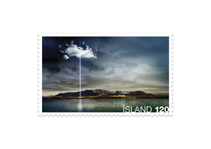 IMAGINE PEACE TOWER/JOHN LENNON Icelandic stamp – designed by Örn Smári Gíslason