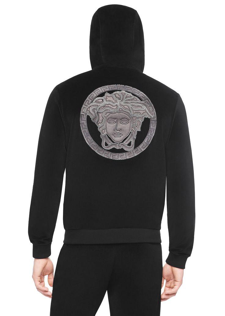 Sweatshirt for Men On Sale, Black, Cotton, 2017, M Versace