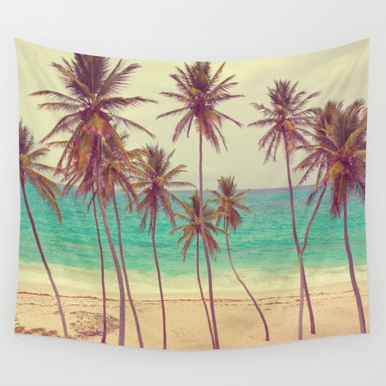 Tropical Beach Wall Tapestry, Palm Trees Large Size Wall Art, Fine Art Photography, Modern Decor, Nature, Ocean, Beach Hut Decor, Coastal