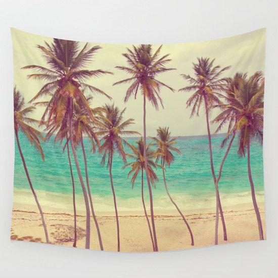 Tropical Beach Wall Tapestry, Palm Trees Large Size Wall Art, Fine Art Photography, Modern Decor, Nature, Ocean, Beach Hut Decor, Coastal