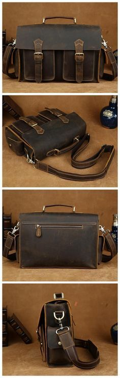 Vintage Genuine Leather Briefcase, Messenger Bag, Crossbody Bag, Shoulder Bag