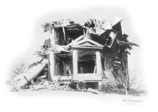 A house devestated by the explosion in Halifax Harbour, documented in Sally M. Walker's BLIZZARD OF GLASS: THE HALIFAX EXPLOSION OF 1917.  This link will take you to the Maritime Museum of the Atlantic to learn more about the disaster.