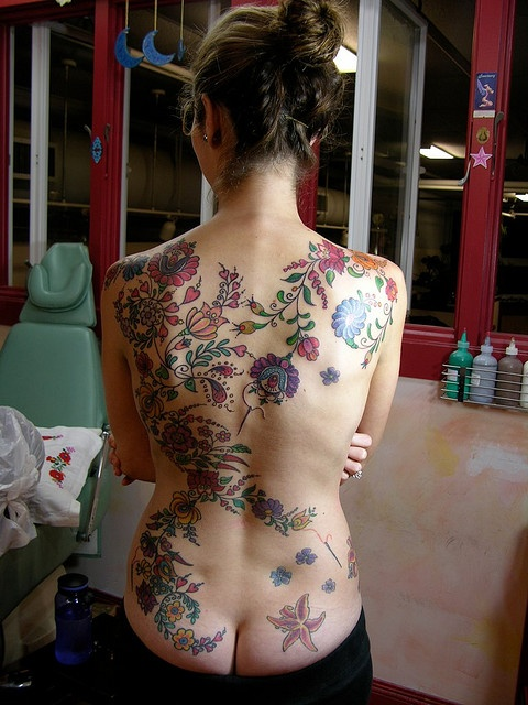 Hungarian Embroidery Backpiece Tattoos for Cultural & Ancestral Identity.
