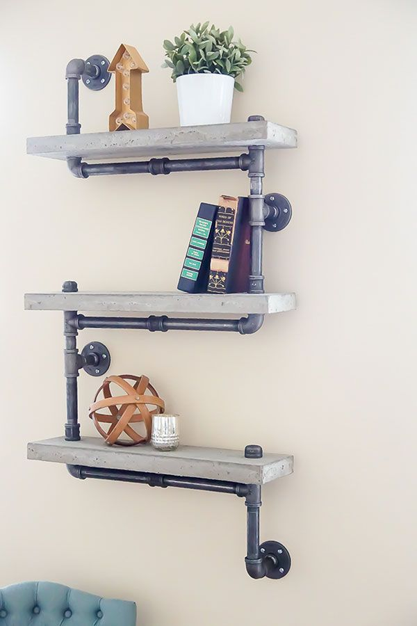 These concrete and pipe shelves by Ashley from Simply Designing combine the best of pipe projects and concrete projects in one DIY tutorial.