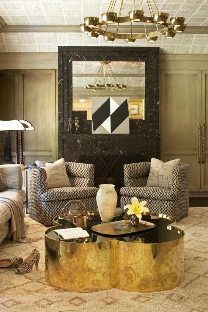 Best einrichtungsideen wohnideen wohnzimmer goldene akzente sessel muster