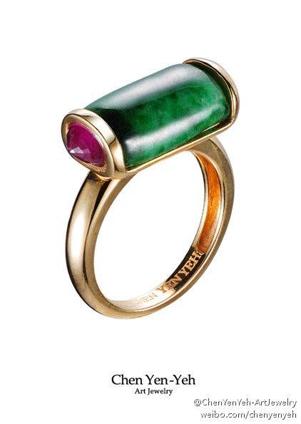Grandma's Jewelry Box -Jadeite Ring (Jadeite/Ruby/18K gold) -Designed by Taiwanese Jewelry Designer-Chen Yen Yeh