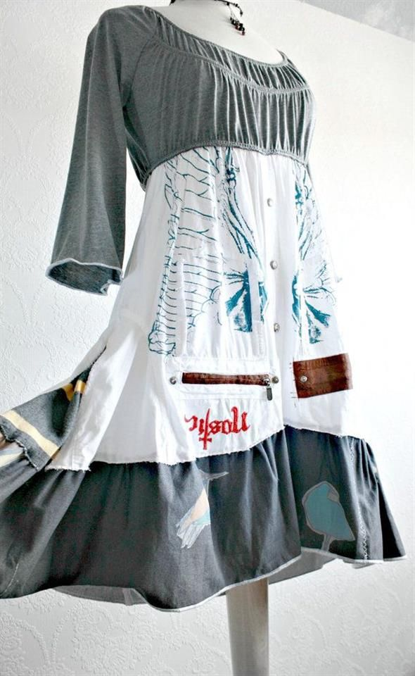 Bing : upcycled clothes I love the look of this dress,would be fun to try and make it.