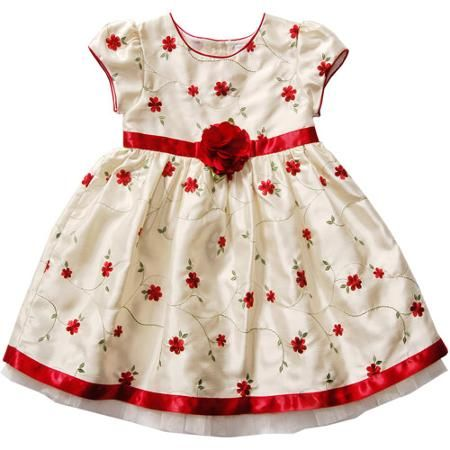 George Baby Toddler Girl Emboidered Shangtung Holiday Dress