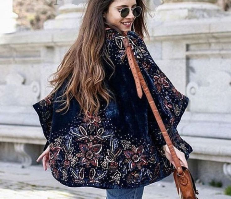 NWT ZARA Velvet Kimono Petrol Blue Sequin Embroidery Jacket ZARA M-L Ref.0881/00 #ZARA #OtherJackets #Casual
