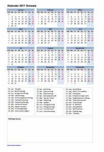 Kalender 2017 Schweiz mit Feiertagen