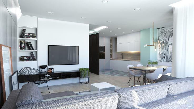 www.advdesign.pl 63m2_9 dining room kitchen wallpaper living room pendant lambert&fils hexagon mint grey diamond armchair