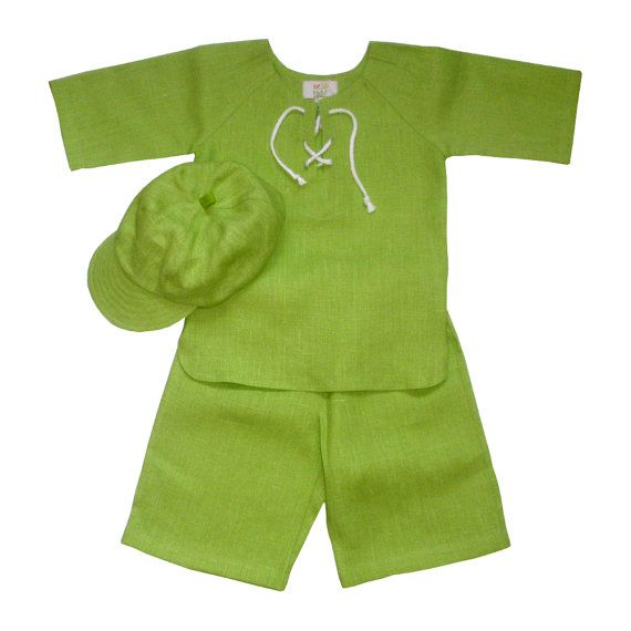 Boys linen suit green baby boy linen costume green baby by EcoEmi