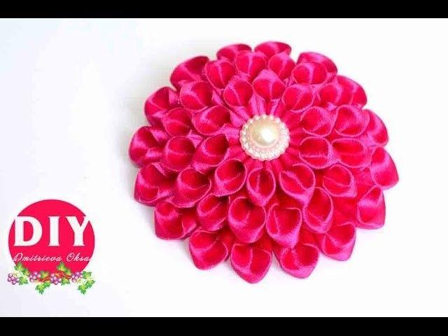 Kanzashi Dahlia Flower.The Dahlia Flower from the satin ribbon.The Dahlia Flower DIY Tutorial
