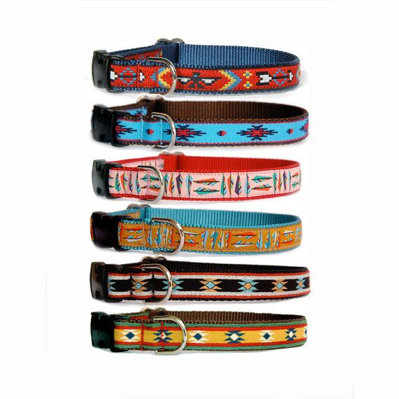 Dog collar leash Small - large dog collar Tribal Southwest Mexco Aztec Native American boy dog collar Non leather animal friendly dog collar