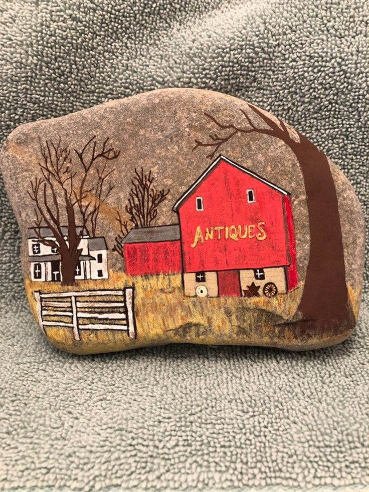 Red Barn Antiques Painted Rock