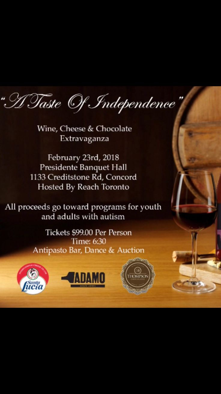 """We are Super excited to be apart of  """"A Taste of Independence"""" A wonderful night in support of autism. We will be pairing our delicious chocolates with Adamo wines and St Lucia cheese. Hope to see you there."""