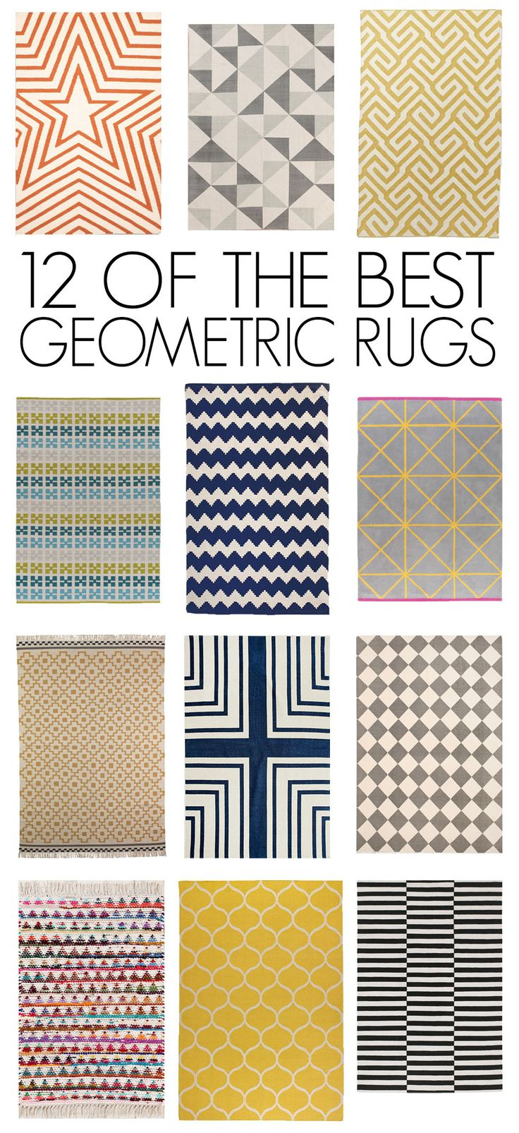 12 of the Best (Affordable!) Geometric Rugs. Been eyeballing the one on the bottom right from Ikea awhile now.