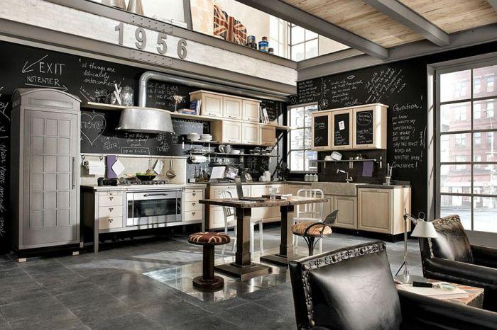 kücheneinrichtung industriell farbkontrast schwarz beige frische akzente